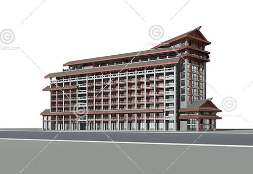 中式大酒店3D模型下载