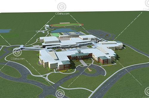 带有运动场地的大酒店3D模型下载