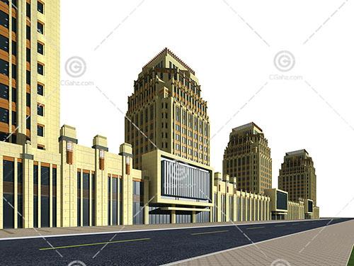 沿街欧式大酒店3D模型下载