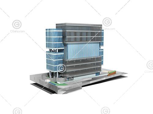 现代结构独特的大酒店3D模型下载