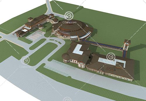 中式度假酒店3D模型下載