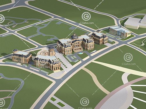 多栋欧式大酒店3D模型下载