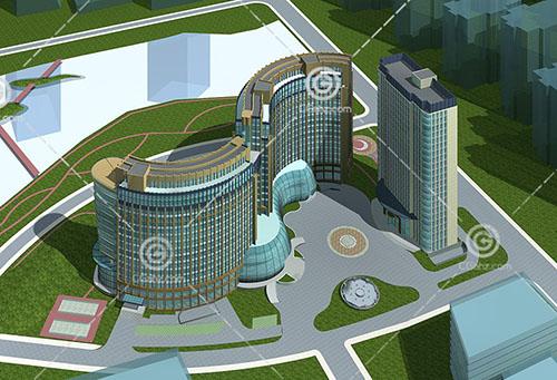 现代弧形酒店3D模型下载