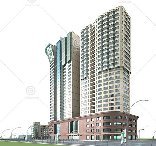 现代大型酒店模型下载