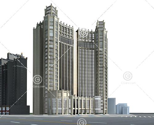 路边的欧式大酒店3D模型下载