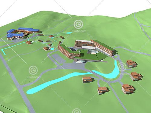 现代简单的度假酒店3D模型下载