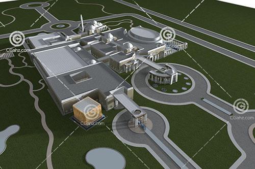 欧式大型酒店3D模型下载