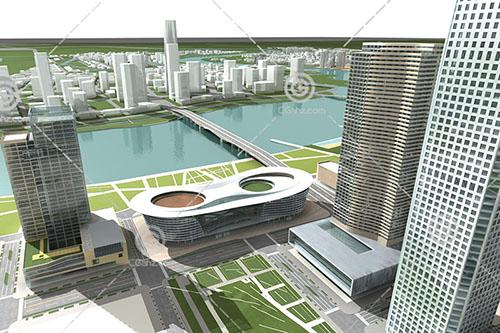 江边的商业综合体3D模型下载