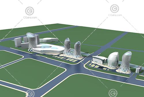 现代解构主义的大型商业综合体3D模型下载