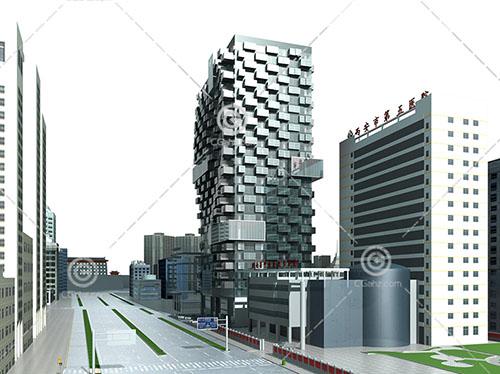 医院旁边的商业综合体3D模型下载