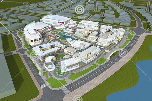 带有小河的现代大型商业综合体3D模型下载