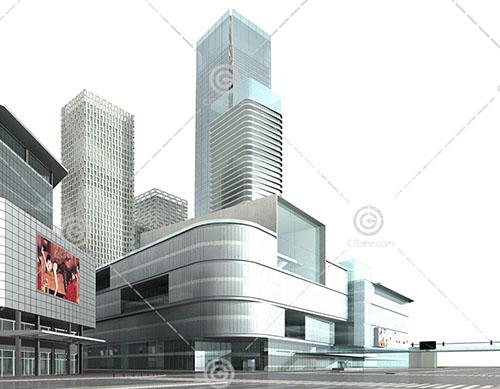 简洁的大型商业综合体3D模型下载