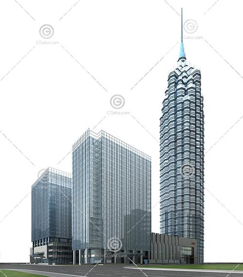 现代解构主义的商业综合体3D模型下载