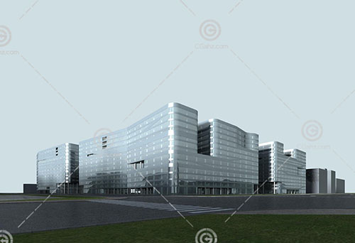 现代解构主义商业综合体3D模型下载