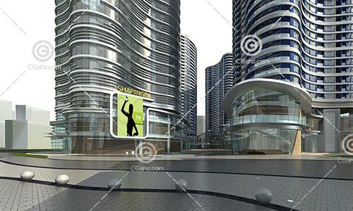 现代时尚的商业综合体3D模型下载