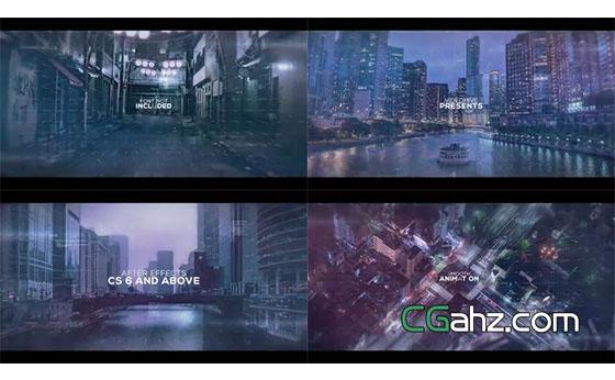 漂浮文字形成了具有未来科技感的视差图像AE模板