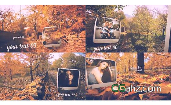 美麗秋天落葉森林間的照片展示AE模
