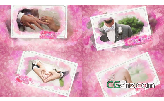 浪漫粉色晕染的甜美爱情瞬间AE模板