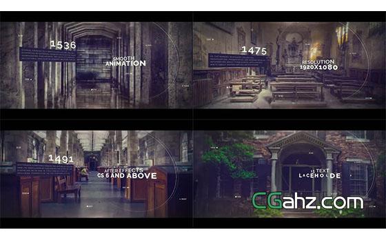 具有图像视差特效的历史时间线内容展示AE模板