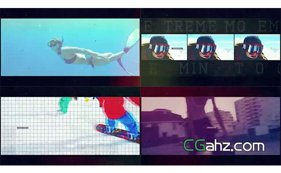 精彩极限运动影像的剪辑展示AE模板
