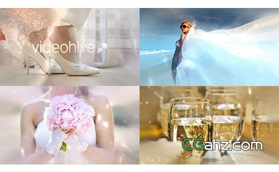 唯美花朵和粒子轉場揭示下的婚禮記憶瞬間AE模板