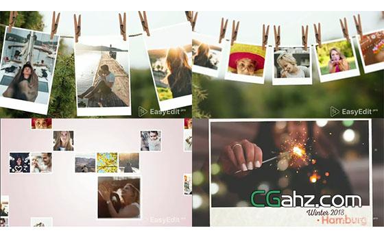 多样图片展示方式组成一款不错的照片相册AE模板