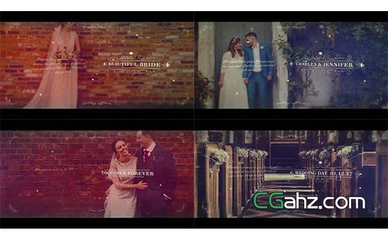 白色花紋和文字裝飾的唯美婚禮微電影AE模板