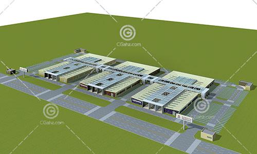 连通的大型商业综合体3D模型下载