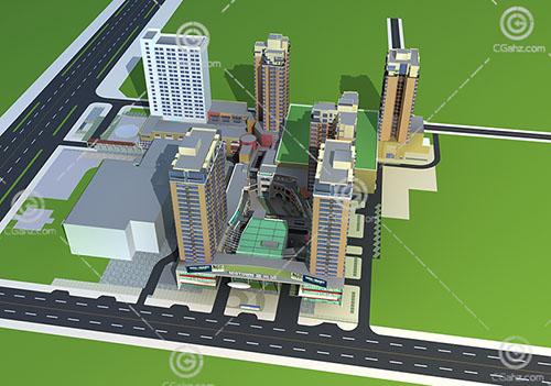 简单的高层大型商业综合体3D模型下载