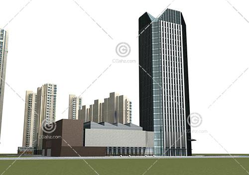 现代高层商业综合体3D模型下载