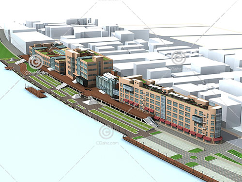 简单的街边商业建筑3D模型下载