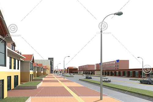 简洁的现代商业街3D模型下载