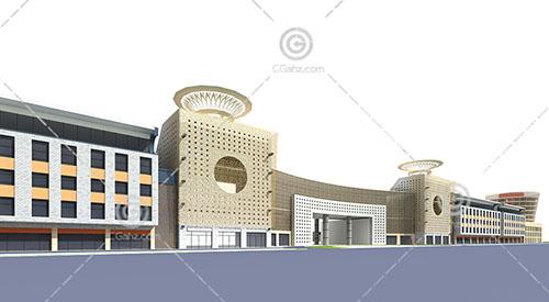 简单的欧式商业街3D模型下载