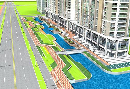 河边的商业街3D模型下载