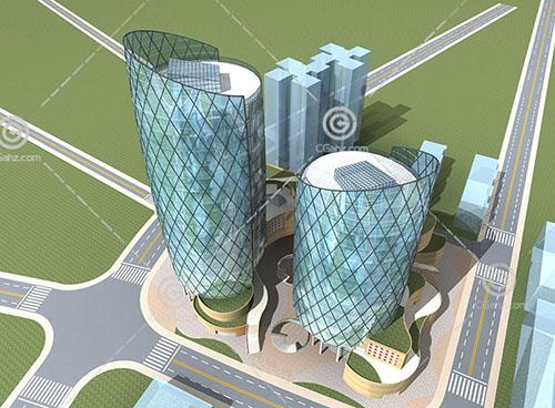 两栋现代大型商业综合体3D模型下载