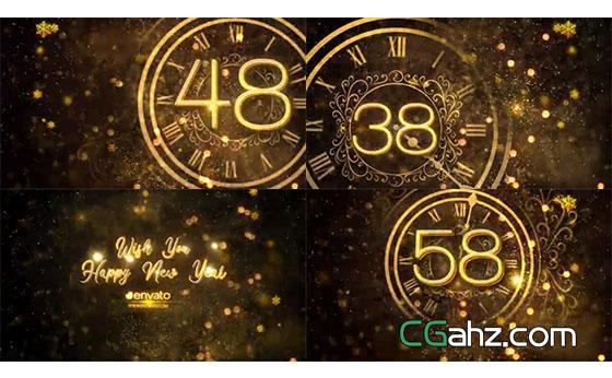 粒子、雪花等裝飾的炫美新年跨年倒計時開場AE模板