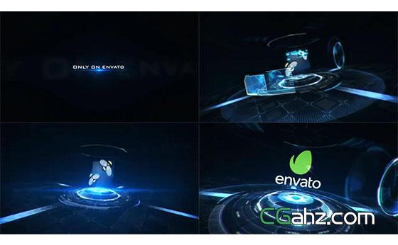 全息科技标志扫描开场特效AE模板