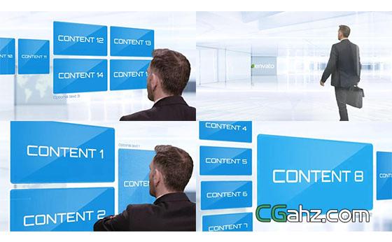 高科技全息触摸屏演示的企业商务片头AE模板
