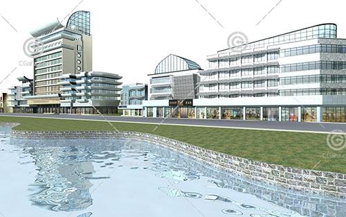河边的商业综合体3D模型下载