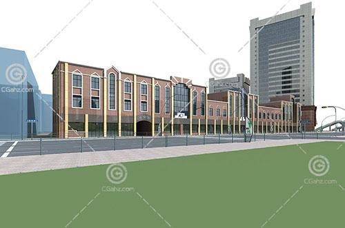 简单的欧式商业街模型下载