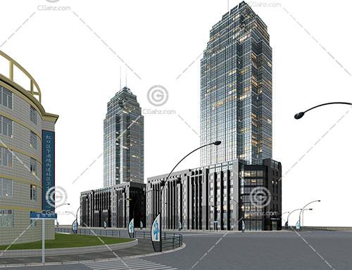 现代高层商业街3D模型下载
