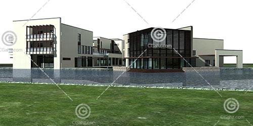 新中式的商业综合体建筑模型下载