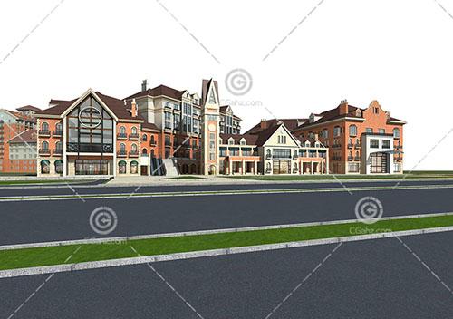 欧式商业街模型下载