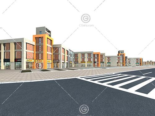 复杂的商业街3D模型下载