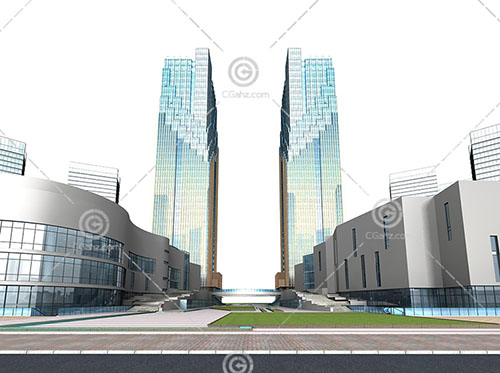 两栋现代高层商业综合体3D模型下载