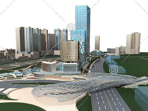 现代的商业综合体建筑模型下载