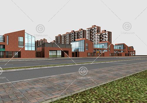 简单的商业街建筑模型下载