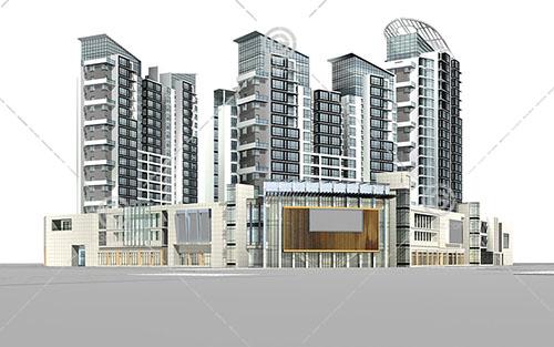 现代高层商业综合体建筑3D模型下载