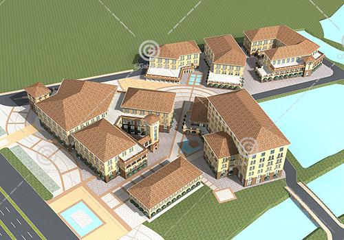 欧式大型商业综合体3D模型下载