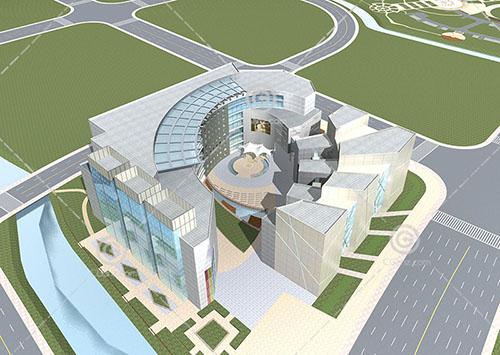 圆环形商业综合体3D模型下载